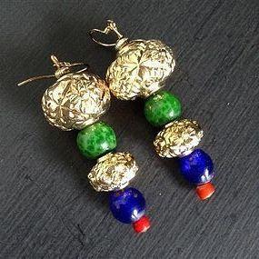 Peking Glass GREEN LEOPARD GURU BEAD Earrings