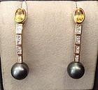 TAHITI BLACK PEARL, DIAMOND & YELLOW SAPPHIRE EARRINGS 18K. GOLD