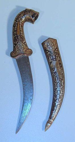 RARE INDO-PERSIAN MUGHAL KHANJAR DAGGER WITH DAMASCENDED PAMOR BLADE