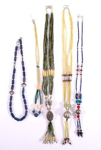 LOT OF 5 DIFFERENT HANDMADE SEMIPRECIOUS NECKLACES