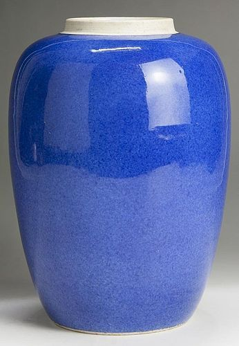 CHINESE POWDER BLUE PORCELAIN VASE WITH DOUBLE CIRCLE MARK