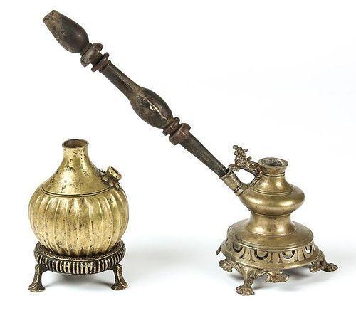 2  RARE NEPALESE ORNATE ANTIQUE HOOKAH / SISHA PIPES, circa 1850