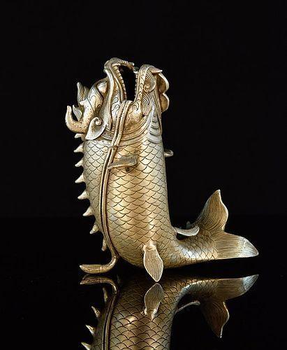 TAISHO JAPANESE SILVERED BRONZE DRAGON-FISH
