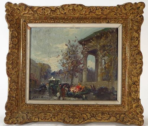 IMPRESSIONIST ORIGINAL OIL PAINTING BY MERIO AMEGLIO, PLACE MADELEINE