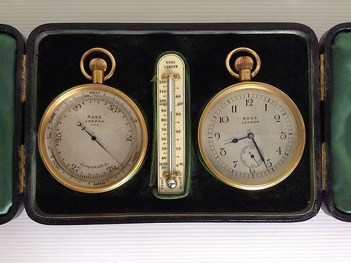 ROSS SEA CAPTAIN'S TRAVEL COMPENDIUM WITH THERMOMETER, CA. 1910
