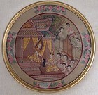 ORIGINAL THAI PAINTING OF JAKATA TALES FRAMED WITH THAI SILK/GOLD LEAF