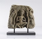 Khmer ANGKOR WAT Stone Carving with APSARA, mounted on a Base