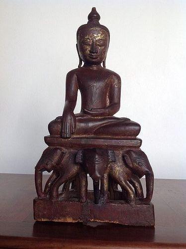 BUDDHA SEATED ON AN ELEPHANT THRONE, SHAN STATE, BURMA, 19TH CENTURY