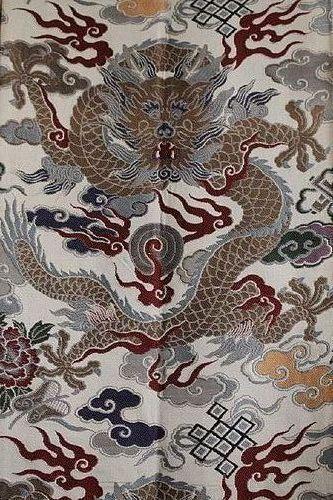 JAPANESE POLYCHROME OBI DEPICTING IMPERIAL DRAGONS