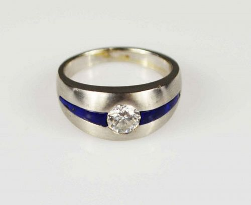 GENUINE DIAMOND 18K. WHITE GOLD RING FLANKED BY LAPIS LAZULI