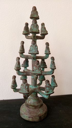 ANCIENT THAI BRONZE TREE WITH 19 MONKS