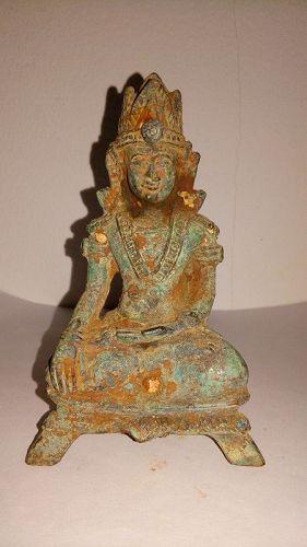 VERY RARE 17th CENTURY EXCAVATED BURMESE BRONZE BUDDHA