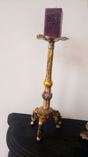 Pair of Vintage Chinese 2-tone Metal Candlesticks
