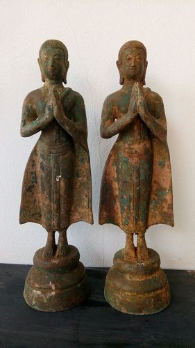 Pair of antique Thai Bronze Acolytes