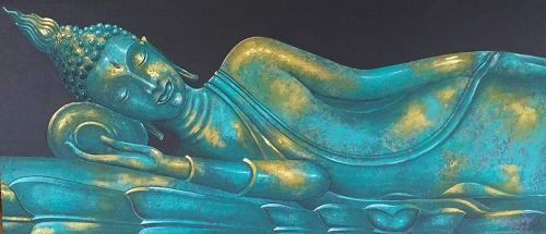 Large Reclining Buddha Painting