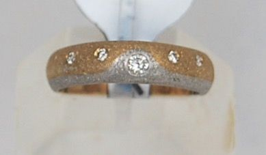 2-Tone 18K. Sandblasted Gold Ring with 5 Diamonds