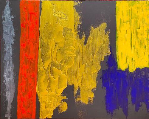 """GOLDEN EGRET POND"" Original Acrylic Painting"