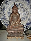 Wooden Buddha, early 19th Century with brown patina