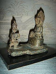 Buddha with Worshiper, Bronze, Burma, 19th Century