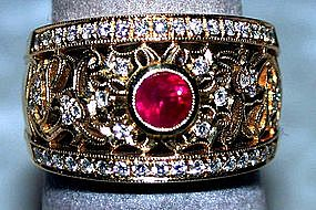 18K Gold Filigree Ring with Burma Ruby and Diamonds