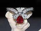 Genuine Ruby/Diamond Ring, 18K. White Gold