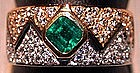 2-Tone 18K Gold Ring set with genuine Emerald/diamonds