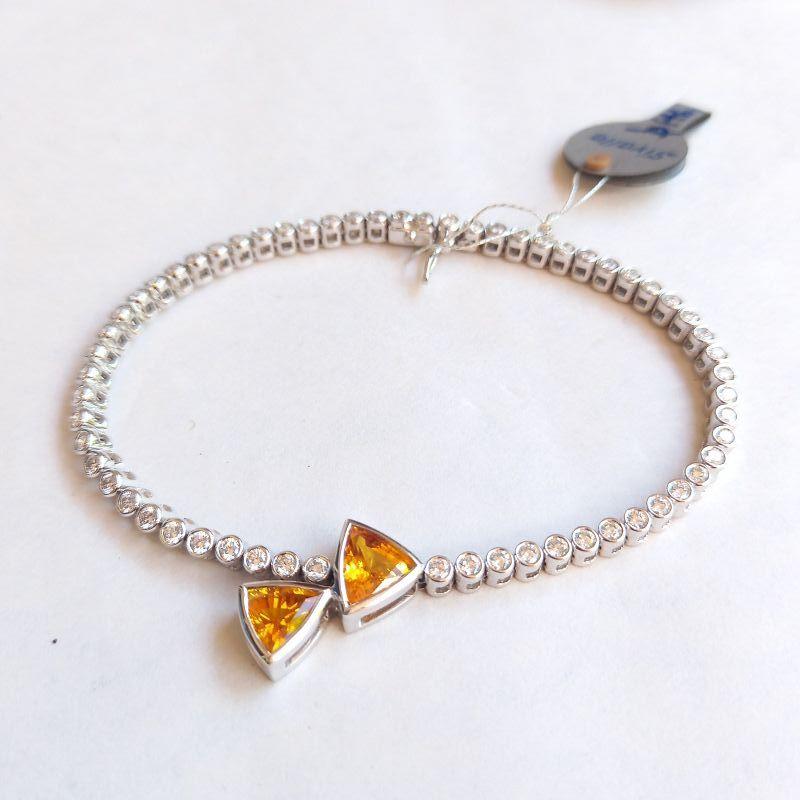 Genuine Yellow Sapphire-Diamond Bracelet 18K White Gold