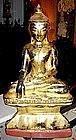 19th Century Wooden Buddha, with lacquer and gilt Burma