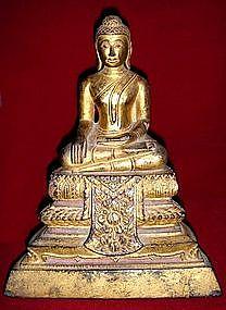 Gilt Thai Wooden Buddha, subduing Mara, 19th Century