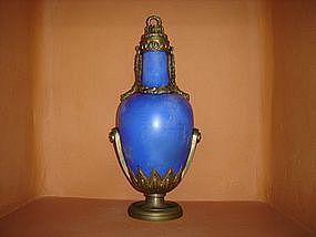 Powder Blue French Empire Urn with Ormoulu, rare