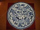 Rare Ming Cobalt Fish/Plant Porcelain Platter