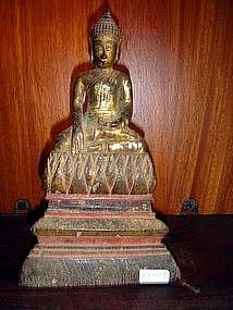 Wooden Buddha on Tapered Throne, 19th Century