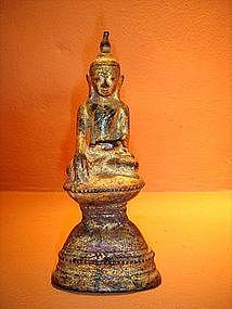 Burmese Shan State Bronze Buddha, gilt red Patina