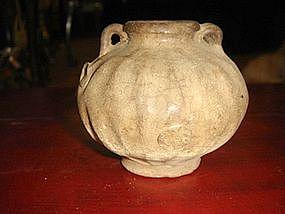 Ash color ribbed Sung Celadon Vase, China