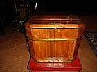 Octagonal Chinese Elm Wood Shoe Trunk with Lock