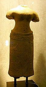 Khmer Goddess of Wisdom, Sandstone, Bayon 13th Century