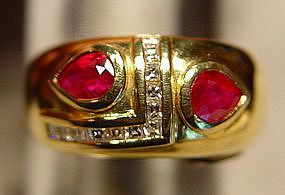 Ruby and Diamond/Brilliant Ring, 18K