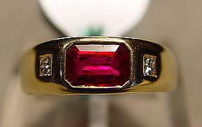 Pigeon Blood Ruby/Diamond Ring, 18K.