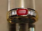 Burma Ruby/Diamond Ring, 18K. Gold