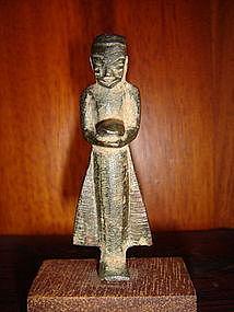 Miniature Bronze Buddhist Monk w. alms bowl, 19th Cent