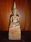 Lanna Thai Gilt Wooden Buddha Sculpture, 19th Cent.