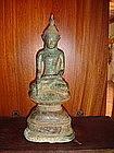 Superb AVA Bronze Buddha on stepped Throne, 15 Century