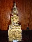 Gilded Wooden ethnic Lanna Thai Buddha, 19th Century
