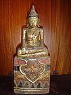 Unusual Thai Lanna Wooden Buddha Statuette, 19th Cent.