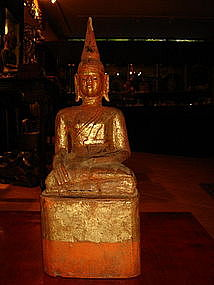 Lanna Thai Wooden Buddha with cinnabar red/gold patina