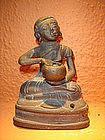 19th C. Bronze Disciple / Monk holding alms bowl, Burma