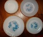 Termocrisa Glass Blue Floral Dinnerware Pieces