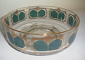 Jeanette Glass Green and Gold Deco Bowl