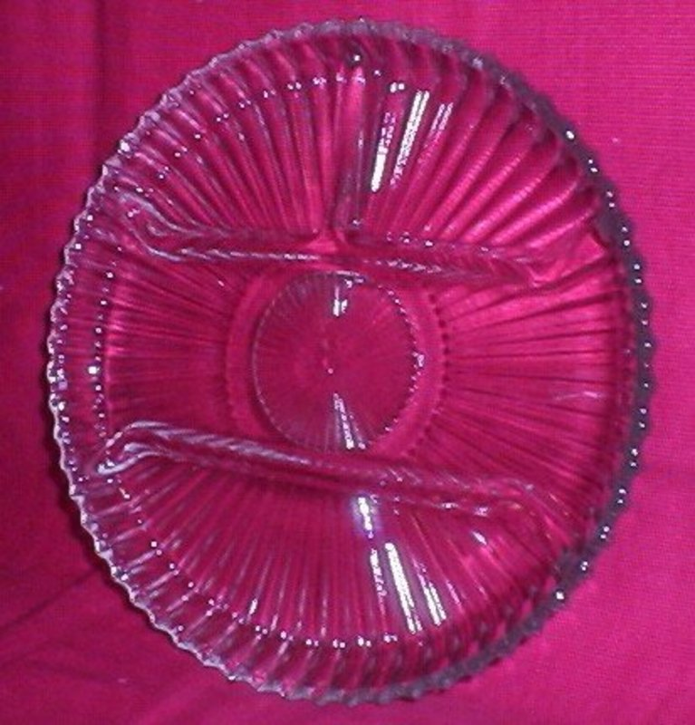 "Indiana Glass Crystal Happenings 10"" Relish Tray"