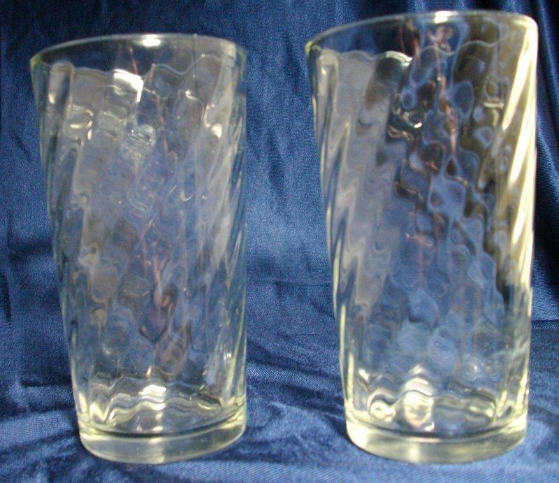 Vintage Spiral Pattern Glass Tumblers